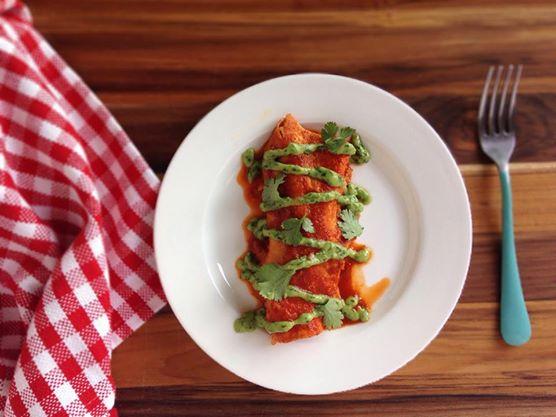 Vegan Sweet Potato Enchiladas with Creamy Avocado Cilantro Sauce