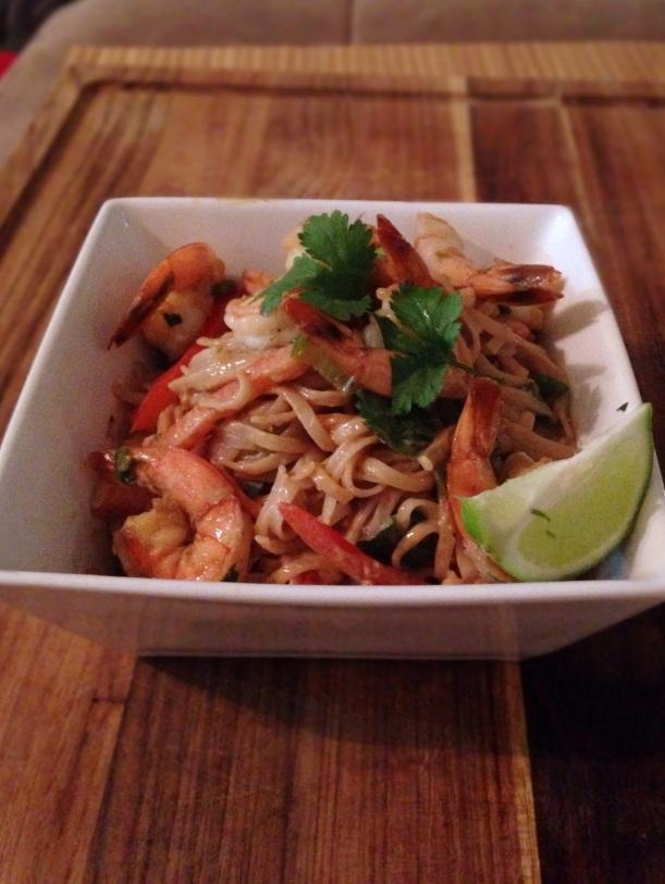 Thai peanut noodles with shrimp